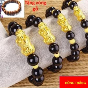 Vòng đeo tay tỳ hưu vàng 6li - Phong thủy may mắn phát tài + Tặng vòng gỗ