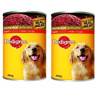 Bộ 2 lon thức ăn chó lớn vị bò Pedigree Beef homestyle 2x400g (Mỹ)