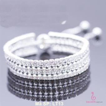 Lắc tay nữ trang sức bạc Ý S925 Bạc Xinh - Lắc đá 3 tầng cá tính LT13