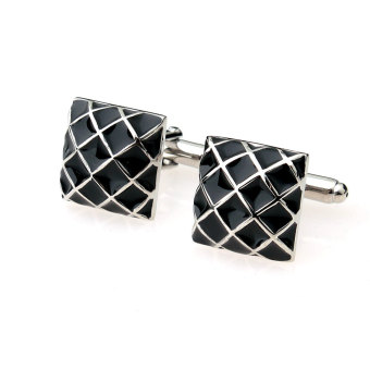 Mens Business Suit Shirt Cufflinks Square Grid Cuff Links Silver Black - intl