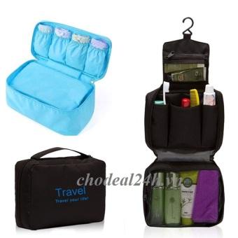 Bộ túi du lịch đựng đồ cá nhân và túi đồ lót (đen và xanh nhạt)