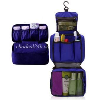 Combo túi đựng đồ cá nhân du lịch travel và túi đựng đồ lót du lịch - chodeal24h (xanh dương đậm)