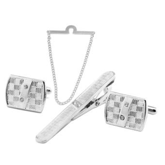4 PCS Men Metal Tie Chain Tie Clip Cufflinks Set 1 Chain 1 Clip 1 Pair Cufflinks for Office Meetings Anniversary Wedding Silver - intl