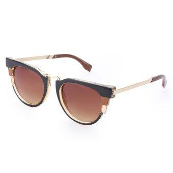 Stylish Ladies Round Design Metal Frame Sunglasses(#1) - intl