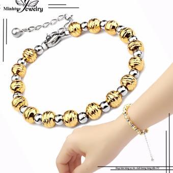 Lắc tay inox nữ kiểu bi cách điệu mạ vàng 24k