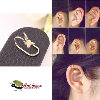 Bông tai nữ (Khuyên tai) đeo vành hình bướm xinh mầu vàng (BT37)