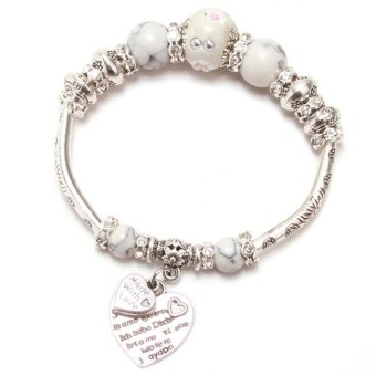 LALANG Women Heart Charm Bracelets Beads Alloy Jewelry Antique Silver White - Intl