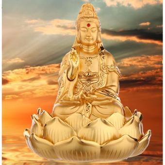 Tượng Phật Quan Âm Kiêm Lọ Nước Hoa Trang Trí Ô Tô Mạ Vàng Cao Cấp F93 (A) (Vàng Kim)