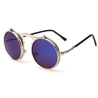 Moonar Unisex Vintage Punk Style Flip Type Fashion Metal Frame Sunglasses (Silver Frame Blue Lense) - Intl