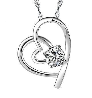 Dây chuyền bạc nữ mặt tim đơn đính đá.
