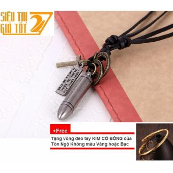 Dây chuyền, vòng cổ DA nam hình VIÊN ĐẠN (Bạc) +Tặng 1 vòng đeo tay Kim Cô Bổng của Tôn Ngộ Không CỰC CHẤT