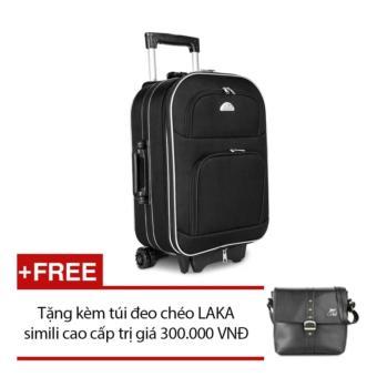 Vali du lịch kéo tay Biti 20 inch màu Đen (Hộp) + tặng túi đeo chéo đen Laka màu Đen CL02