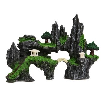 Artificial Mountain View Aquarium Ornament House Cave Bridge Tropical Fish - intl
