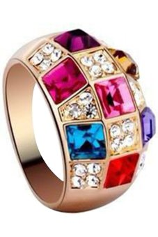 Bluelans Women's Colorful Rhinestone Golden Alloy Ring Party Jewelry (Intl)