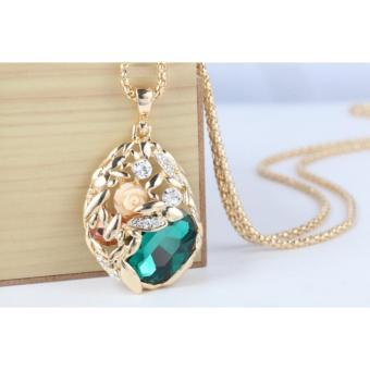 Vòng cổ dài cao cấp Rose Flower Royal Queen Victoria Jewelry – Champagne vàng kim xanh lá