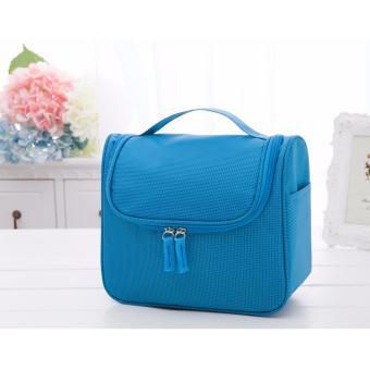 Túi đựng đồ mỹ phẩm đa năng không thấm nước có xách tay phong cách Hàn Quốc (Xanh da trời)