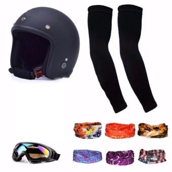 Mũ bảo hiểm 3/4 + kính uv +1 đôi găng tay chống nắng + khăn phượt màu ngẫu nghiên (Đen)