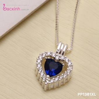 Bộ dây chuyền liền mặt nữ trang sức bạc Ý S925 Bạc Xinh Hình trái tim PP1361
