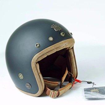 Mũ bảo hiểm 3/4 Royal Luxury cao cấp - Đen nhám