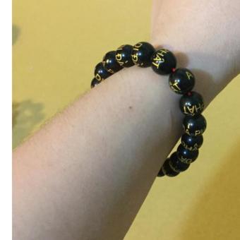 Vòng tay A-di-da-phat đá đen 10 ly