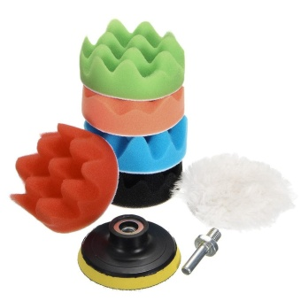 8Pcs 4inches Car Polishing Waxing Set Sponge Buffing Pad Accessory Automobile Polisher Buffer Kit Compound with M14 Drill Adapter Kit - intl