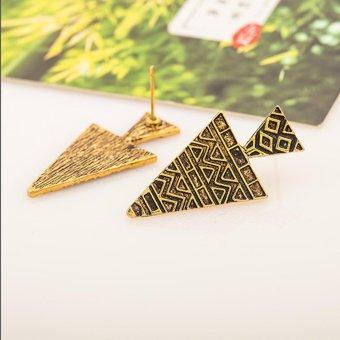 Bông tai tam giác hoa văn cổ Ai Cập màu Đồng