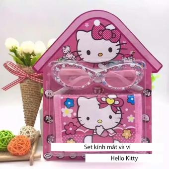 Kính mát tặng kèm ví Hello Kitty dễ thương cho bé gái