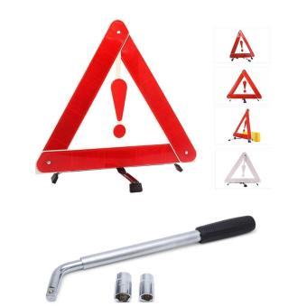 Bộ 1 biển tam giác phản quang cảnh báo nguy hiểm và 1 tay công vặn lốp ô tô SM154