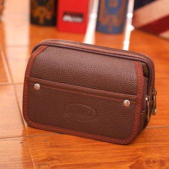 Túi đeo thắt lưng để điện thoại 2 dây kéo(Nâu)
