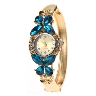 Geneva Watch Gold-fil Crystal Bracelet Butterfly Quartz Wristwatch (Intl:)