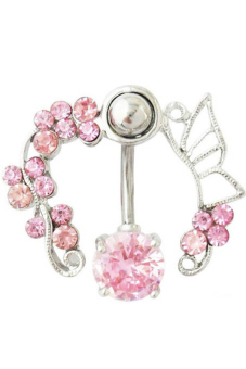 Fancyqube Hollow Belly Button Rings Sexy Body Piercing Jewelry Pink
