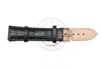 Dây đồng hồ da bò vân cá sấu size 20mm - DDH8 (Đen).