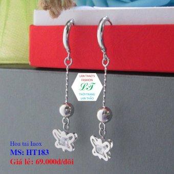 Bông tai Inox Bướm tòn ten cực xinh HT183 (Trắng)