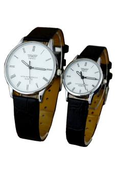 Đồng hồ đôi dây da SWIDU 002 (Trắng)