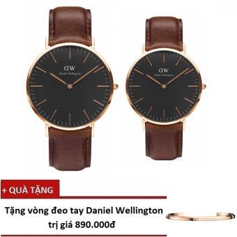 Bộ đôi đồng hồ thời trang Nam/Nữ Daniel Wellington Classic Black Bristol mặt 40mm & 36mm (Vàng) + Tặng vòng đeo tay Deniel Wellington