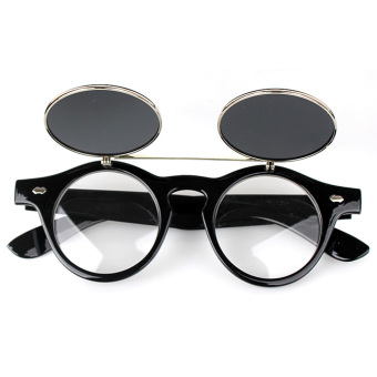 1 Pair Unisex Flip Up Retro Round Circle Mirror Lens Wide Legs Sunglasses Shades Sun Glasses for Men Women Black