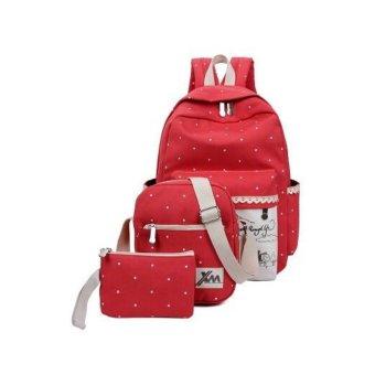Bộ ba ba lô + túi đeo chéo + ví nhỏ NVPRO thời trang (Đỏ)