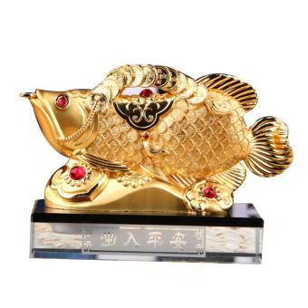Tượng cá rồng ngậm tiền để trên xe hơi (Vàng)