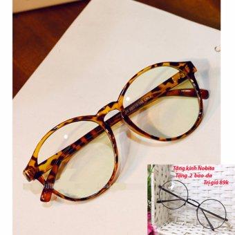 Mắt kính nhựa gọng tròn nam nữ s47 + Tặng kính NOBITA và 2 bao da