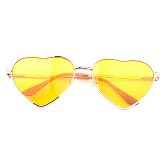 Moonar Unisex Women Men Heart Shaped Glasses Sunglasses Bright Yellow