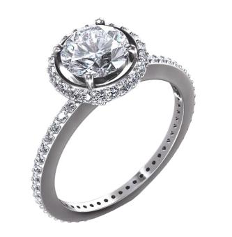 Nhẫn nữ vàng trắng đá kim cương nhân tạo NNU21