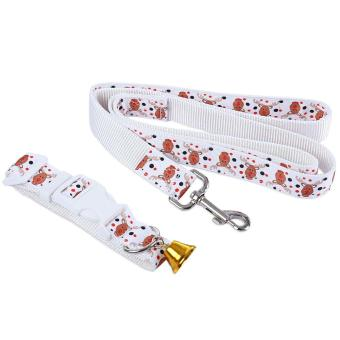 2pcs Christmas Pattern Pet Nylon Leading Leash Dog Collar with Tinkling Bell - intl