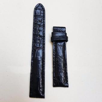 Dây đồng hồ da Cá sấu cao cấp 1 mặt (size 20mm) CS1M (màu đen)