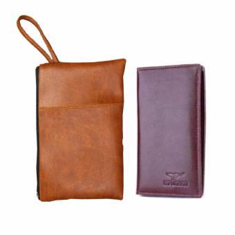 Bộ đôi túi đựng tài liệu A2 nâu sữa và ví dài nâu hanama