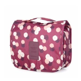 Túi đa năng chống thấm Toiletry nhiều ngăn (Hoa đỏ)