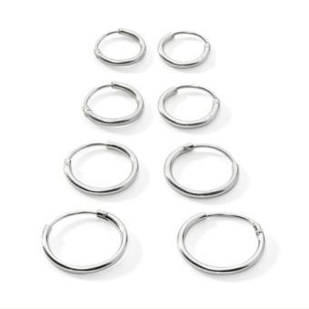 BolehDeals 4 Pairs 925 Sterling Silver Endless Round Hoop Sleeper Earrings 8 10 12 14mm - Intl