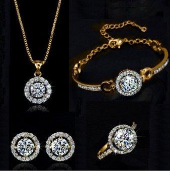 Bộ trang sức hoa hồng quý phái ( Bạc - vàng kim)
