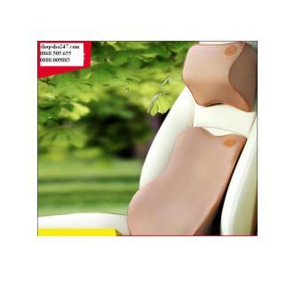 Bộ gối tựa đầu và lưng cao su non MM (Màu cà phê)