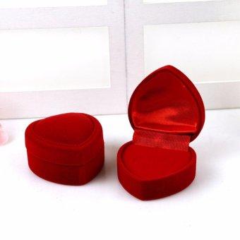 02 vỏ Hộp đựng đồ trang sức quà tặng nhung đỏ hình trái tim MS12
