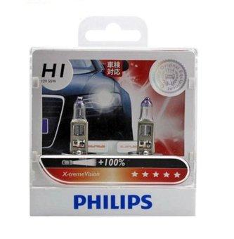 Bộ 2 bóng đèn Philips halogen tăng sáng X-treme Vision chân H1 tăng sáng 100%